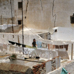 View of a Rooftop with Clotheslines in Morocco.